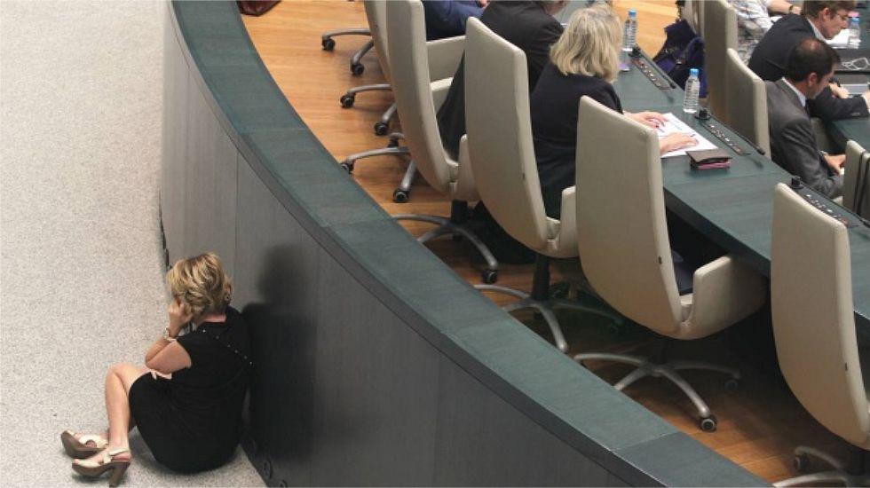 En junio del 2016, fotografiada mientras hablaba por el móvil, sentada en el suelo y apoyada en uno de los muros del hemiciclo, mientras se celebraba el pleno.