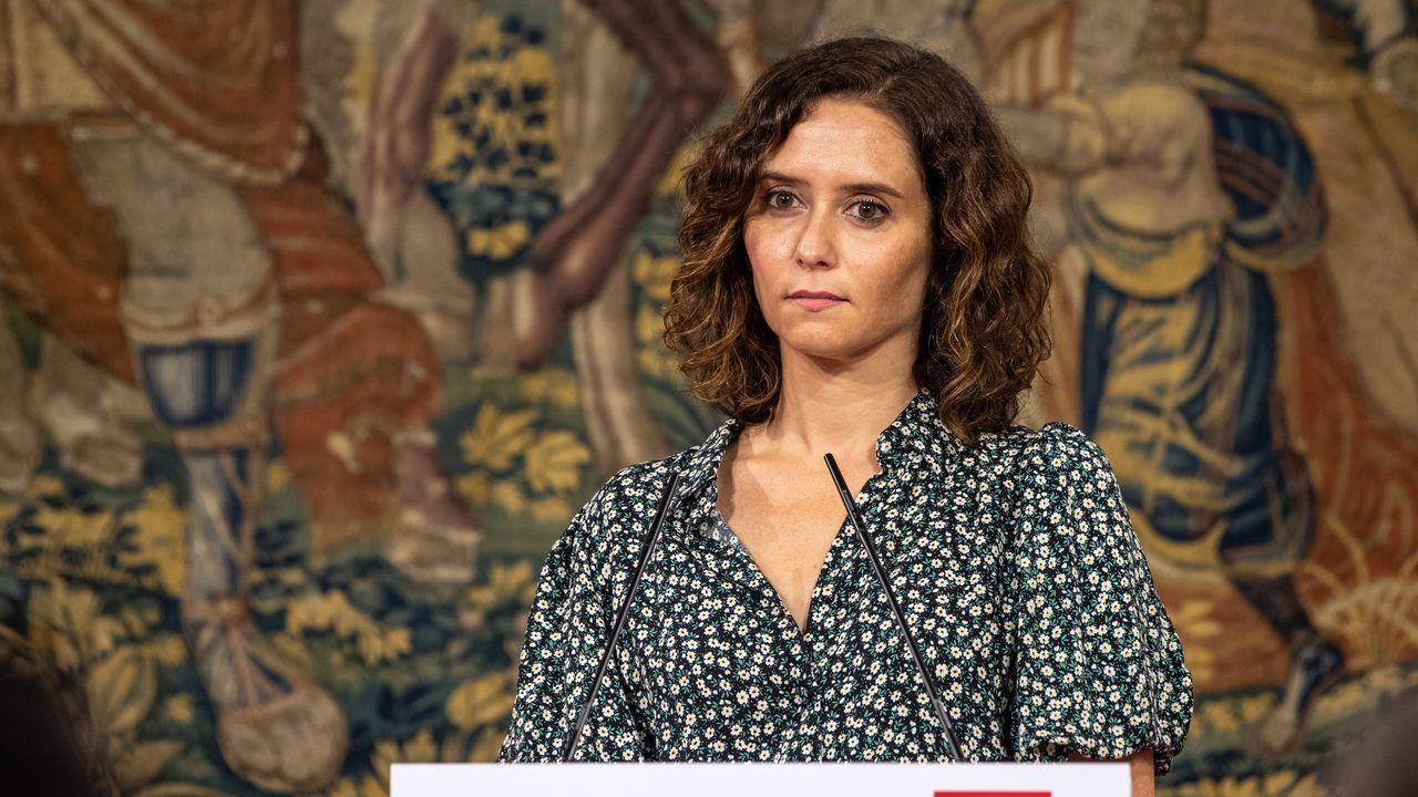 11-S: 20 años del atentado que cambió el mundo.La presidenta de la Comunidad de Madrid, Isabel Díaz Ayuso, este viernes, en una rueda de prensa en Toledo