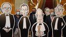 Siro López, a la izquierda, junto a Feijoo y Santalices, este viernes en el Parlamento de Galicia