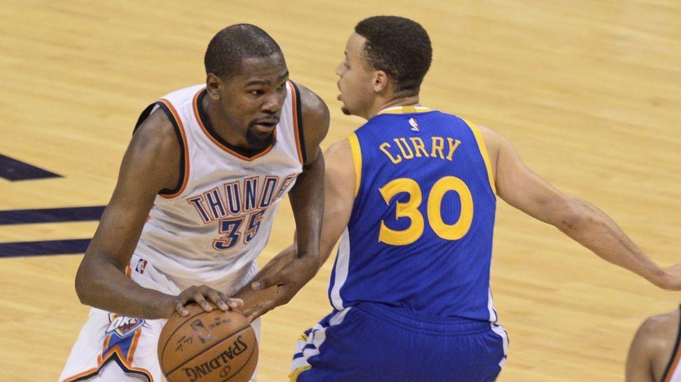 Durant, con el que ahora será su compañero, Steph Curry