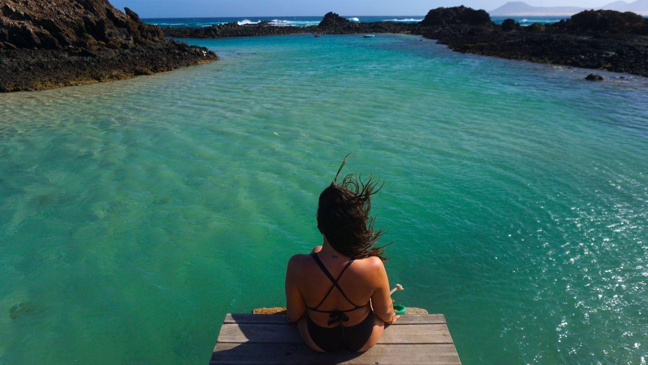 Inês en la Isla de Lobos, en Fuerteventura
