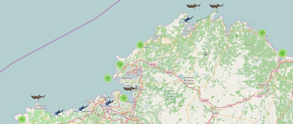 mapa interactivo de seguimiento de tiburonespelágicos en la costa gallega