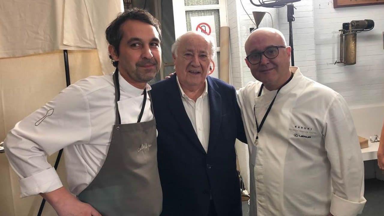 Javier Olleros, Amancio Ortega y Ricardo Sanz en una foto para el recuerdo