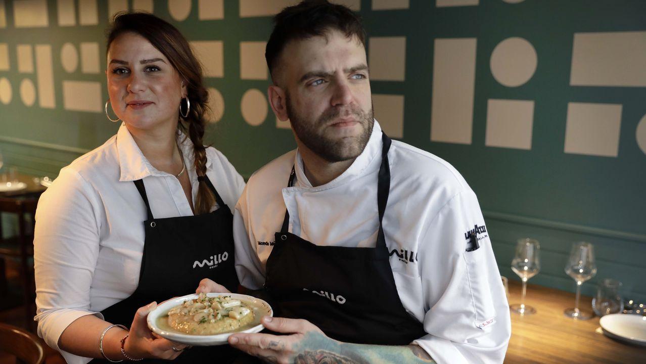 Vinoteca 9 Olmos.Moncho Méndez y Marta Pesce, del restaurante Millo.