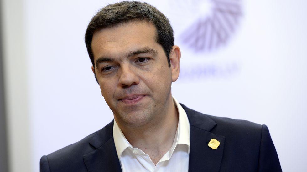 Alexis Tsipras, a la salida de la reunión