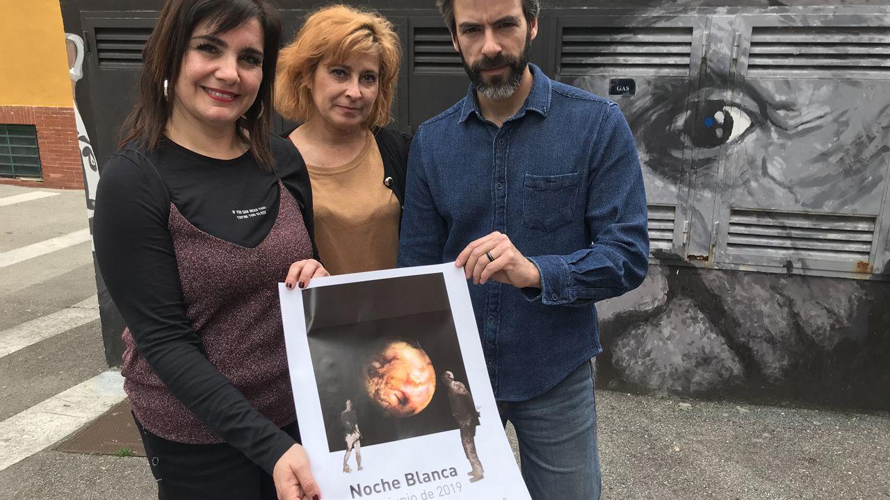 Yolanda Alonso, concejala de Cultura de Avilés, junto a Anabel Barrio y Nacho Suárez