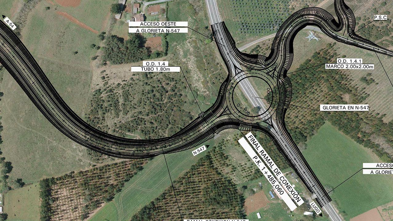 Glorieta que se construirá en la N-547 cerca de O Coto para enlazar con la A-54 en Remonde