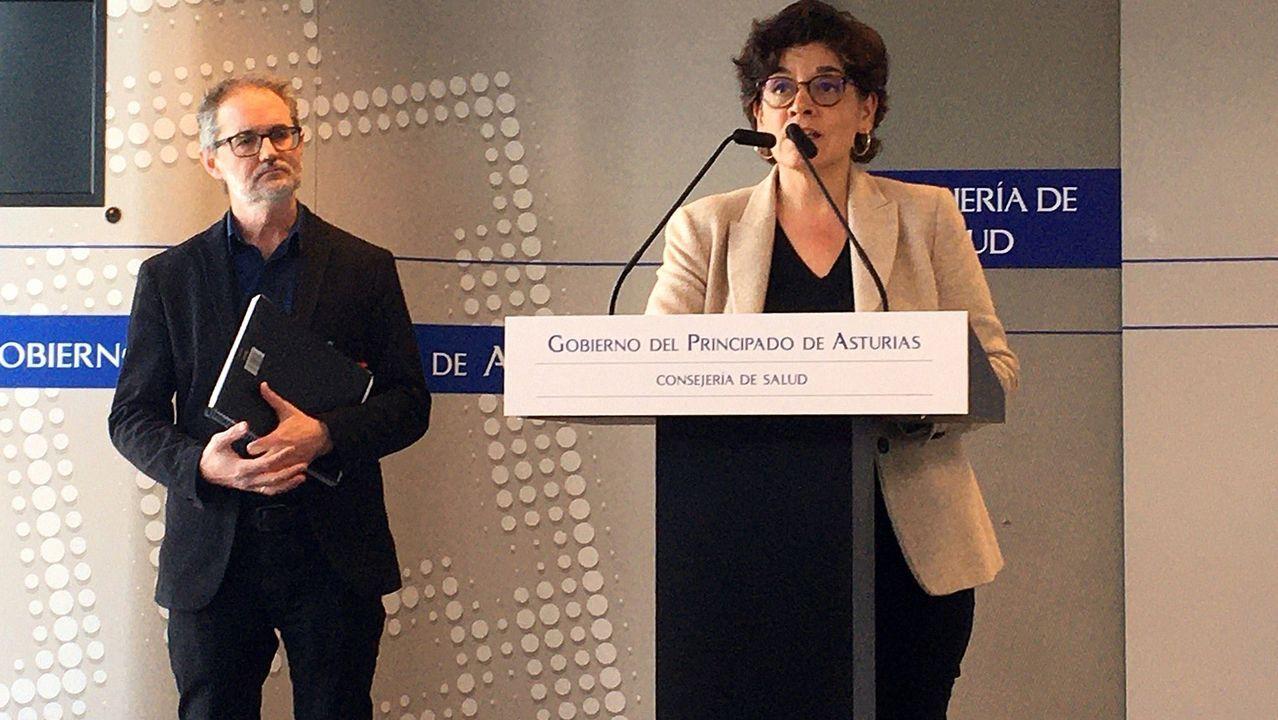 El director general de Salud Pública, Rafael Cofiño (i), y la gerente de Servicio de Salud del Principado (Sespa), Concepción Saavedra,