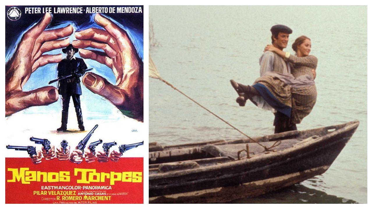 Cartel del filme «Manos torpes» (1970), uno de los wésterns dirigidos por Rafael Moreno Marchent. A la derecha, fotograma de la serie televisiva «Cañas y barro»