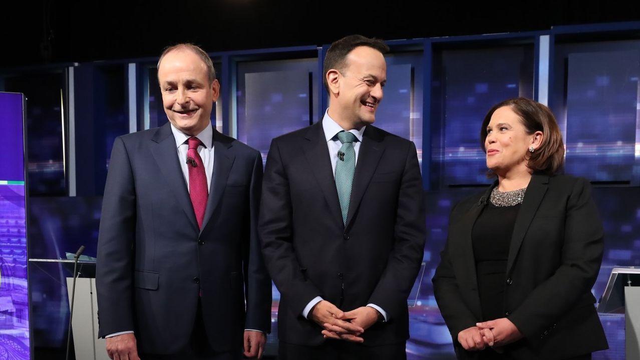 Michaél  Martin, Leo Varadkar y Mary Lou McDonald, durante un debate de la campaña electoral
