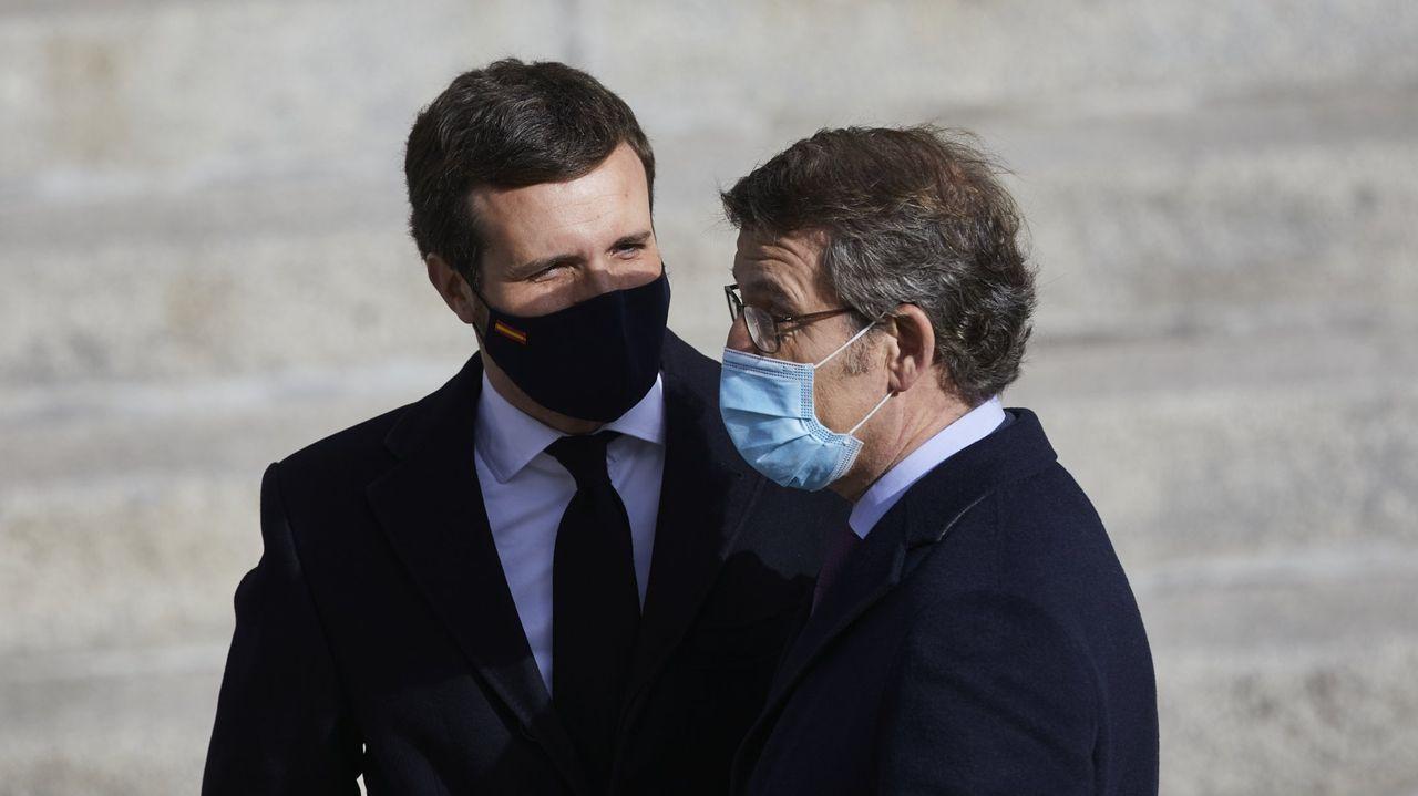 Concentraciones en Galicia por el asesinato de Samuel.Feijoo y Pablo Casado, en una imagen de diciembre del año 2020