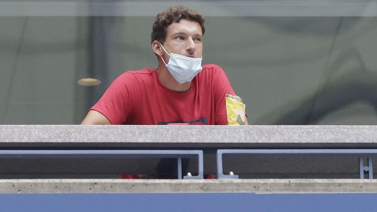 El tenista gijonés Pablo Carreño, hoy, en las gradas del US Open