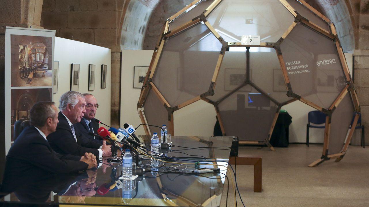 El director gerente del Museo Nacional Thyssen, Evelio Acevedo, el director territorial de Endesa, Miguel Temboury, y el gerente de Exponav, José María Cardona, presentaron el proyecto expositivo en Ferrol