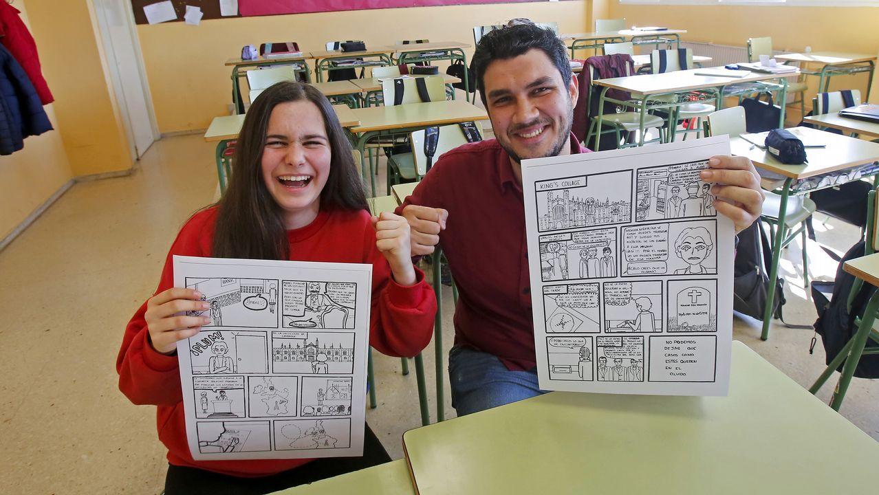 Detalle da mostra, na que os orixinais se acompañan das portadas da revista de Biblos que ilustraron