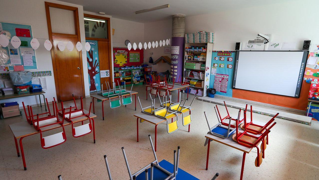 Así se adaptan los colegios gallegosal protocolo anticovid.Colegio Rural Agrupado en Rianxo, en una imagen de archivo