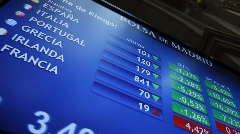 Prima de riesgo en un monitor de la Bolsa de Madrid tras conocerse los resultados electorales en Grecia