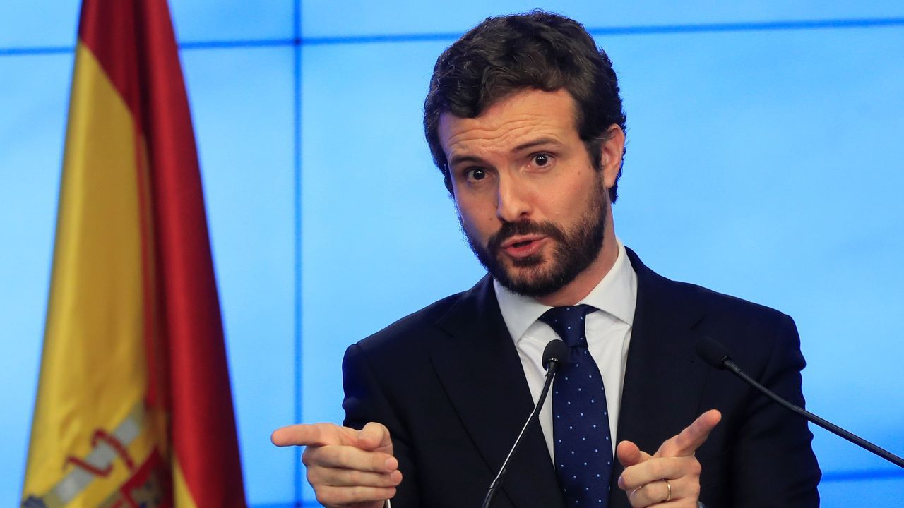 Imagen de Pablo Casado en la sede del PP en Madrid