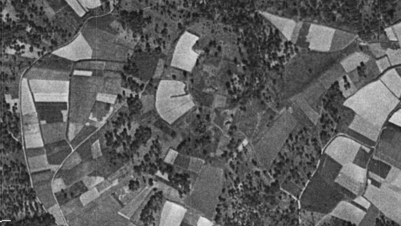 Imaxe aérea do castro de Centroña tomada polo voo americano de 1956