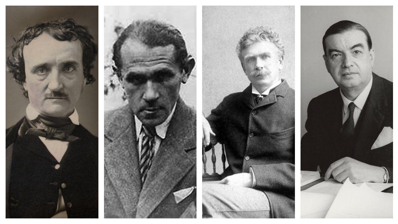 Los escritores Poe, Bruno Schulz y Ambrose Bierce -de izquierda a derecha- son algunos de los autores que recoge Roger Caillois (a la derecha) en su antología
