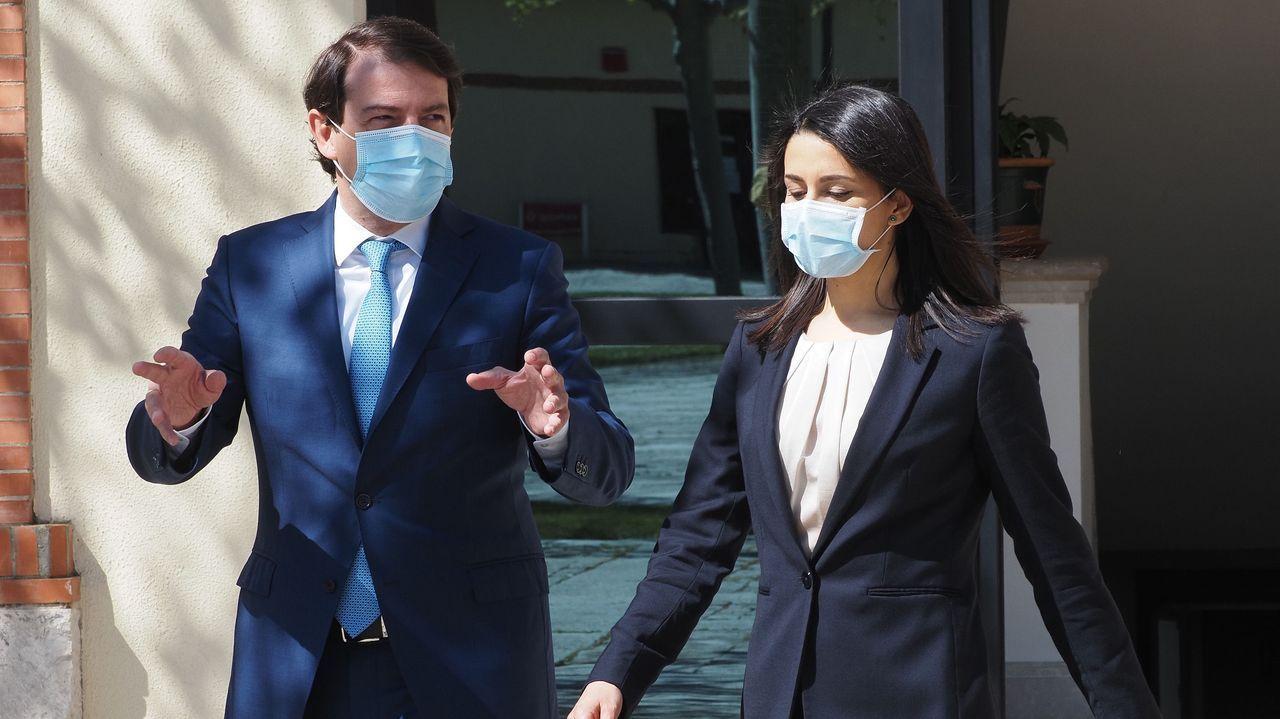 Alfonso Fernández Mañueco (PP) e Inés Arrimadas (Cs), tras una reunión celebrada este martes en Valladolid para reforzar su alianza en el Gobierno de coalición de Castilla y León