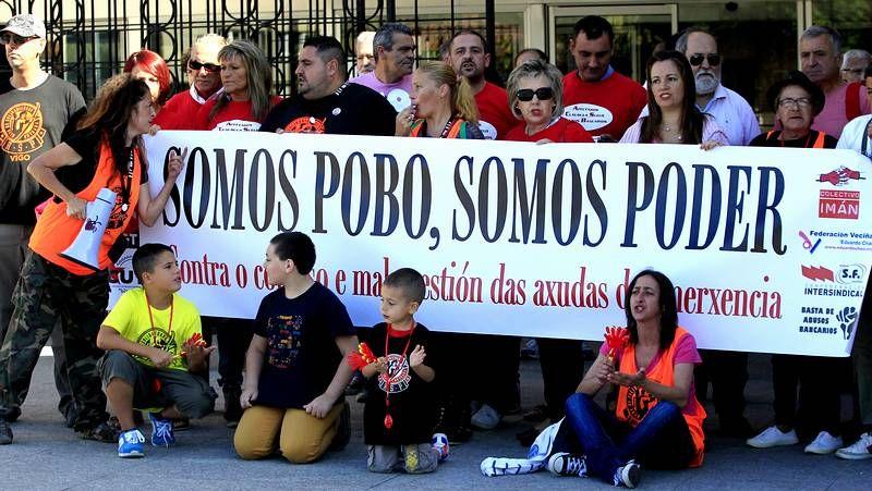 Protesta contra las políticas sociales del Concello de Vigo.San Lorenzo, campeón de la Libertadores