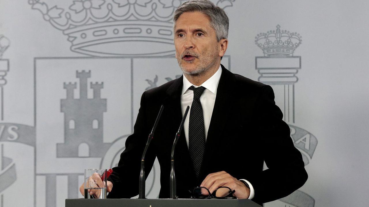 El general Laurentino Ceña observa a Marlaska en la toma de posesión de María Gámez como directora de la Guardia Civil.Las portabilidades quedaron limitadas con la declaración del estado de alarma