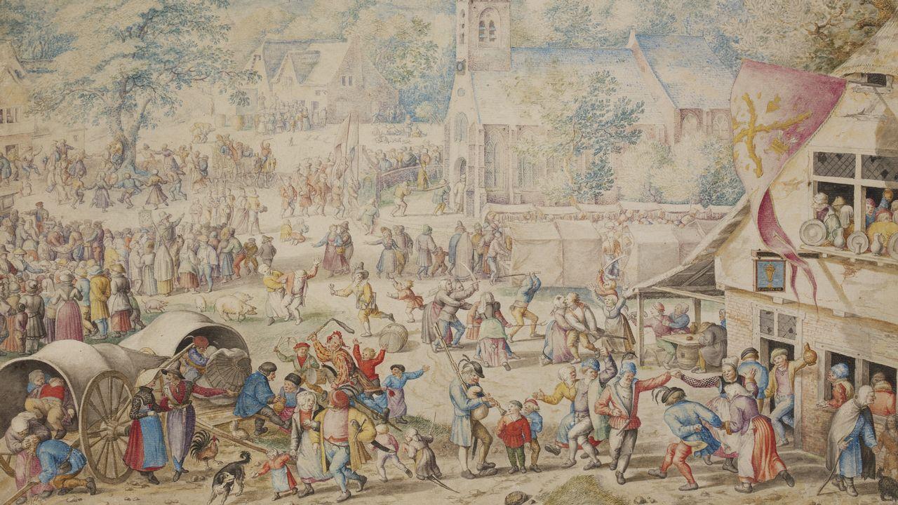 Así eranlos macrobotellones del siglo XVI.«Kermés popular», de Jacob Savery