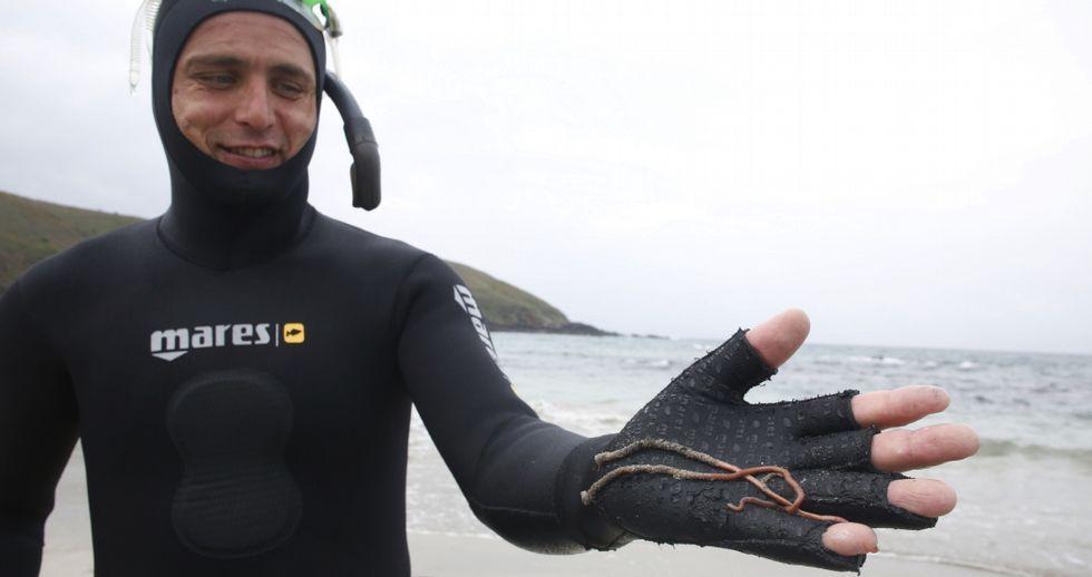 Seis profesionales de la cofradía de Portonovo -Daniel Arosa en la foto- se dedican a la explotación del gavilán en Sanxenxo.