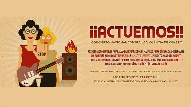 Cartel de «¡Actuemos!», concierto nacional contra la violencia de género
