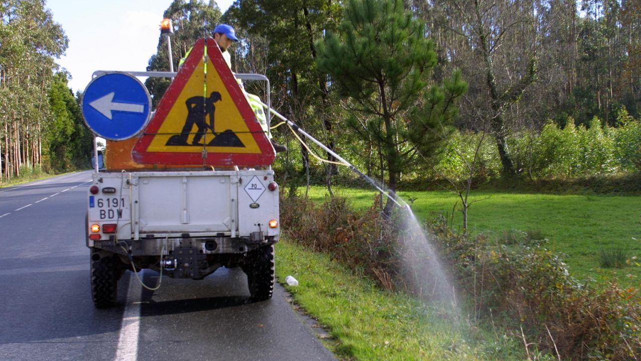 El uso del glifosato está muy extendido para controlar la vegetación en los márgenes de las carreteras gallegas