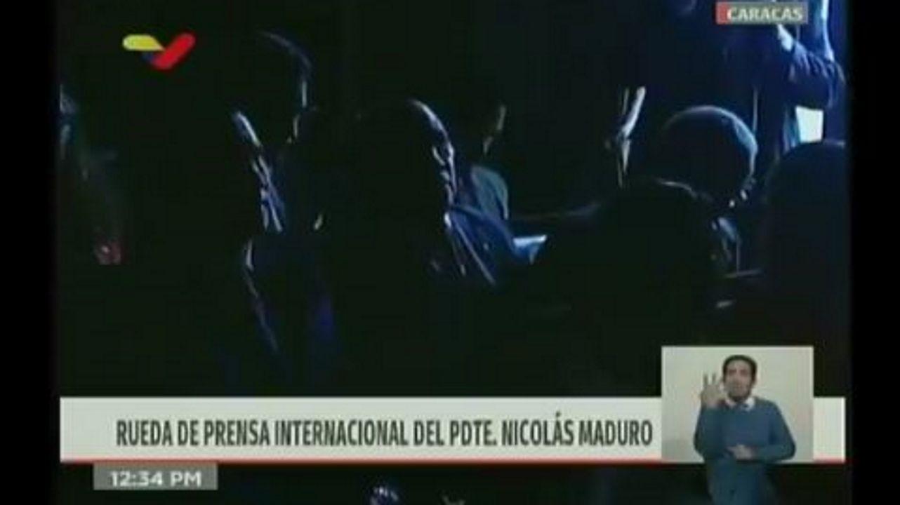 Captura de la grabación en directo de la rueda de prensa de Nicolás Maduro en el palacio de Miraflores