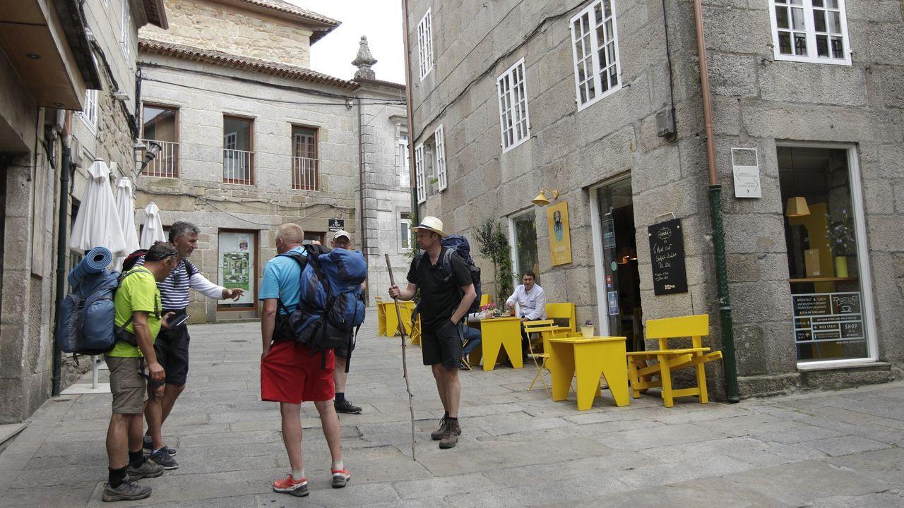 Así es la avenida del «gourmet» de Pontevedra.Escolares colaborando en traballos de mantemento ao pé do Camiño de Santiago