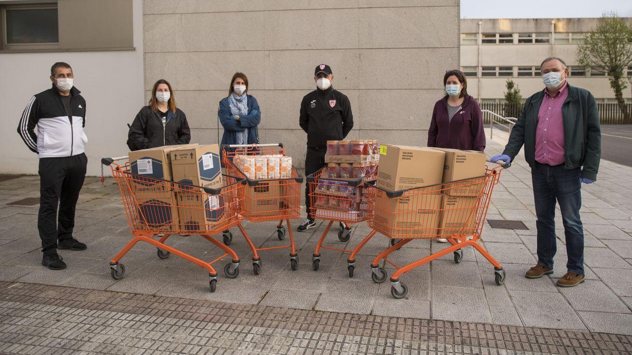 Desde el estadio de El Molinón salió la ayuda alimenticia para las asociaciones y familias necesitadas tras el coronavirus.