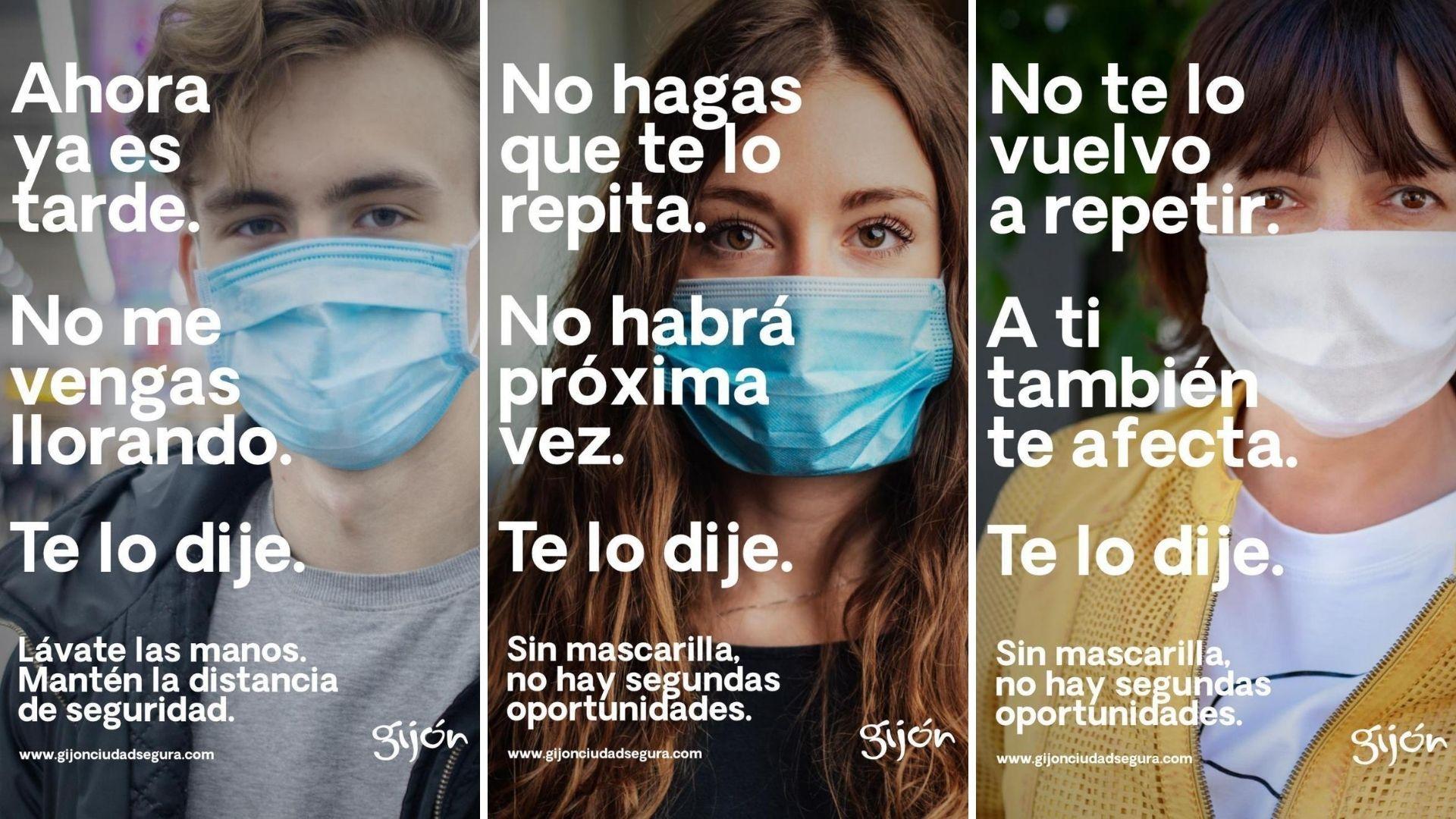 Carteles de la campaña sobre las medidas de prevención que pone en marcha el Ayuntamiento de Gijón