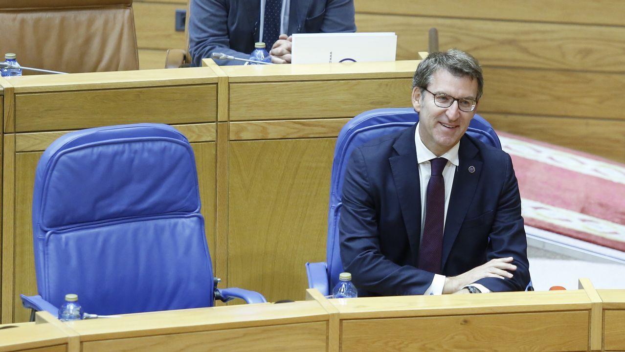 Feijoo, ayer durante el pleno del Parlamento