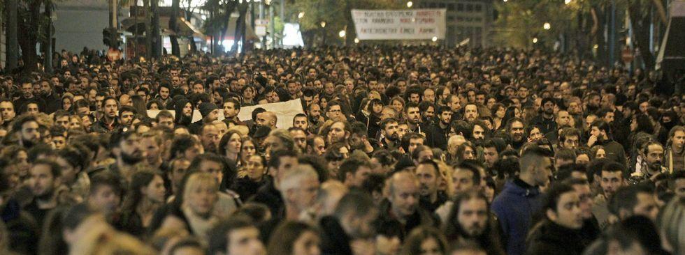 Histórica manifestación contra el terrorismo en París.Giorgio Napolitano, presidente de Italia