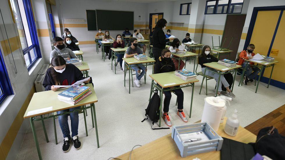 Imagen de un instituto gallego, donde el cumplimiento de las normas anticovid garantiza la seguridad del alumnado