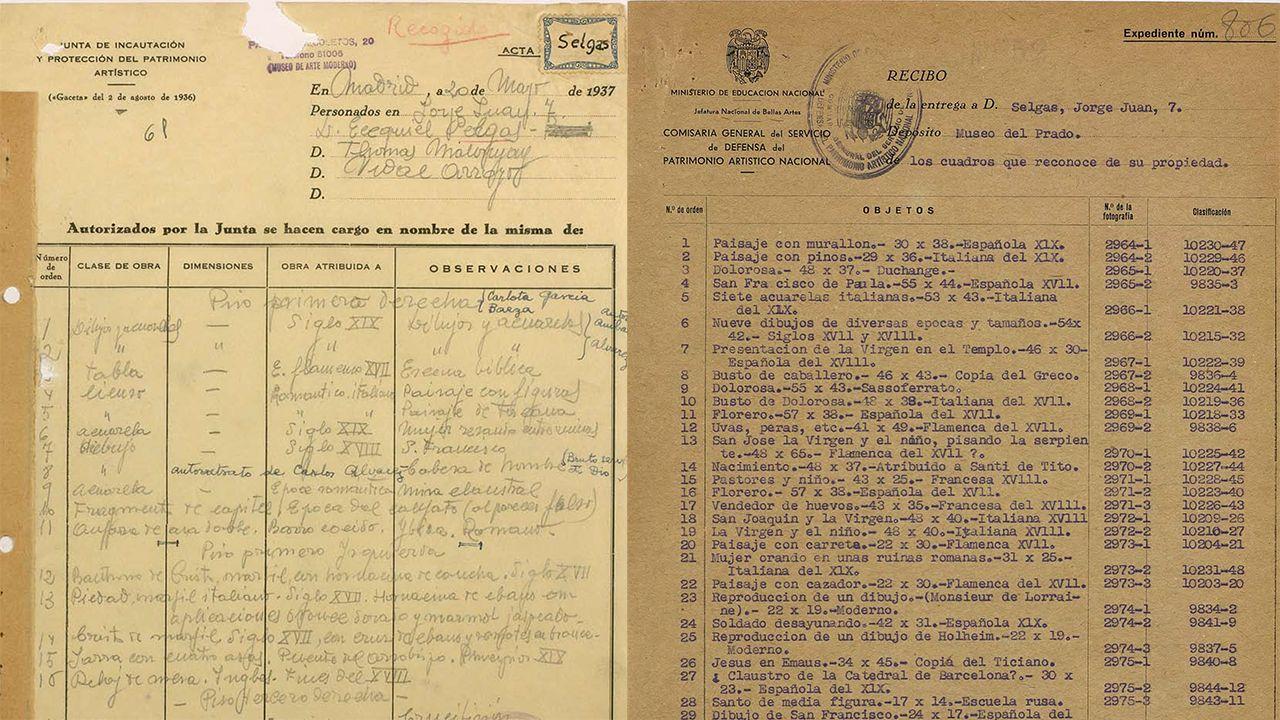 A la izquierda, acta de incautación de la familia Selgas durante la Guerra Civil. A la derecha, una de las hojas del expediente de devolución, ya en septiembre de 1939