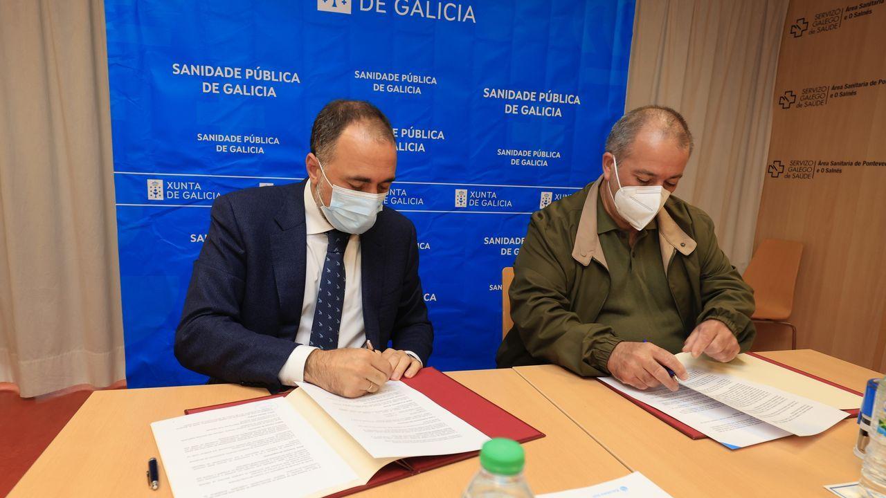 El punto covid del Hospital Provincial de Pontevedra, municipio que este martes alcanzó los 597 casos activos