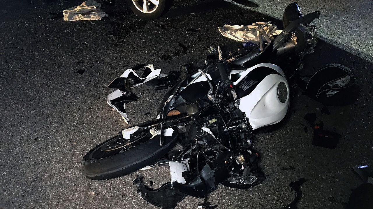 Estado de la moto tras la colisión