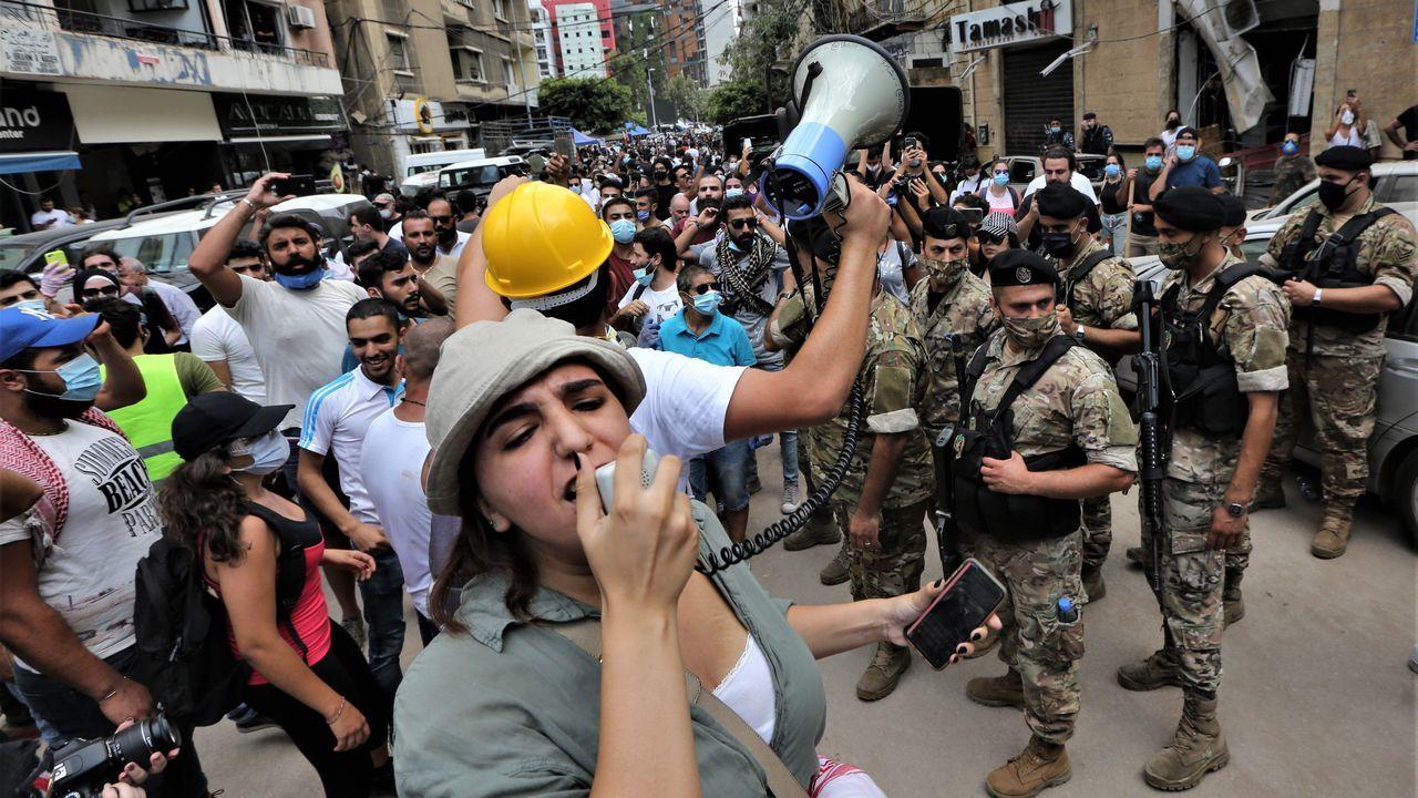 Los enfrentamientos entre la policía y los manifestantes en Beirut.La asturiana Raquel Fernández, jefa de Comunicación y Alianzas Privadas de la misión de Unicef en el Líbano