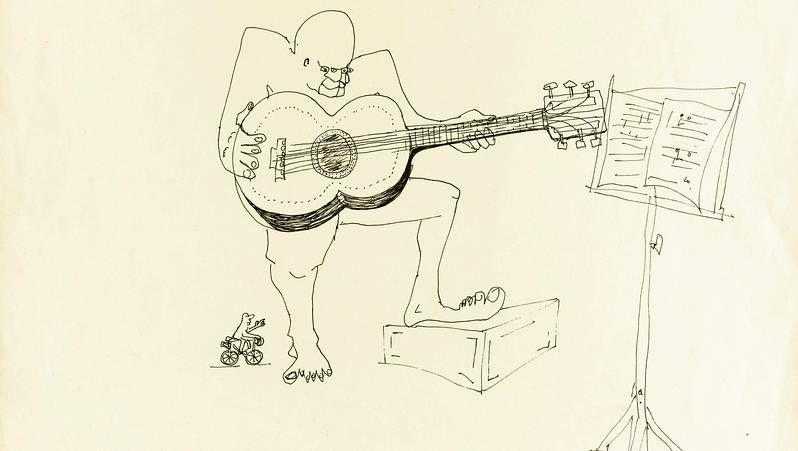 Las ilustraciones de Lennon.El grupo Los Potes visitó el Hogar San Francisco y tocó para algunos de sus usuarios.