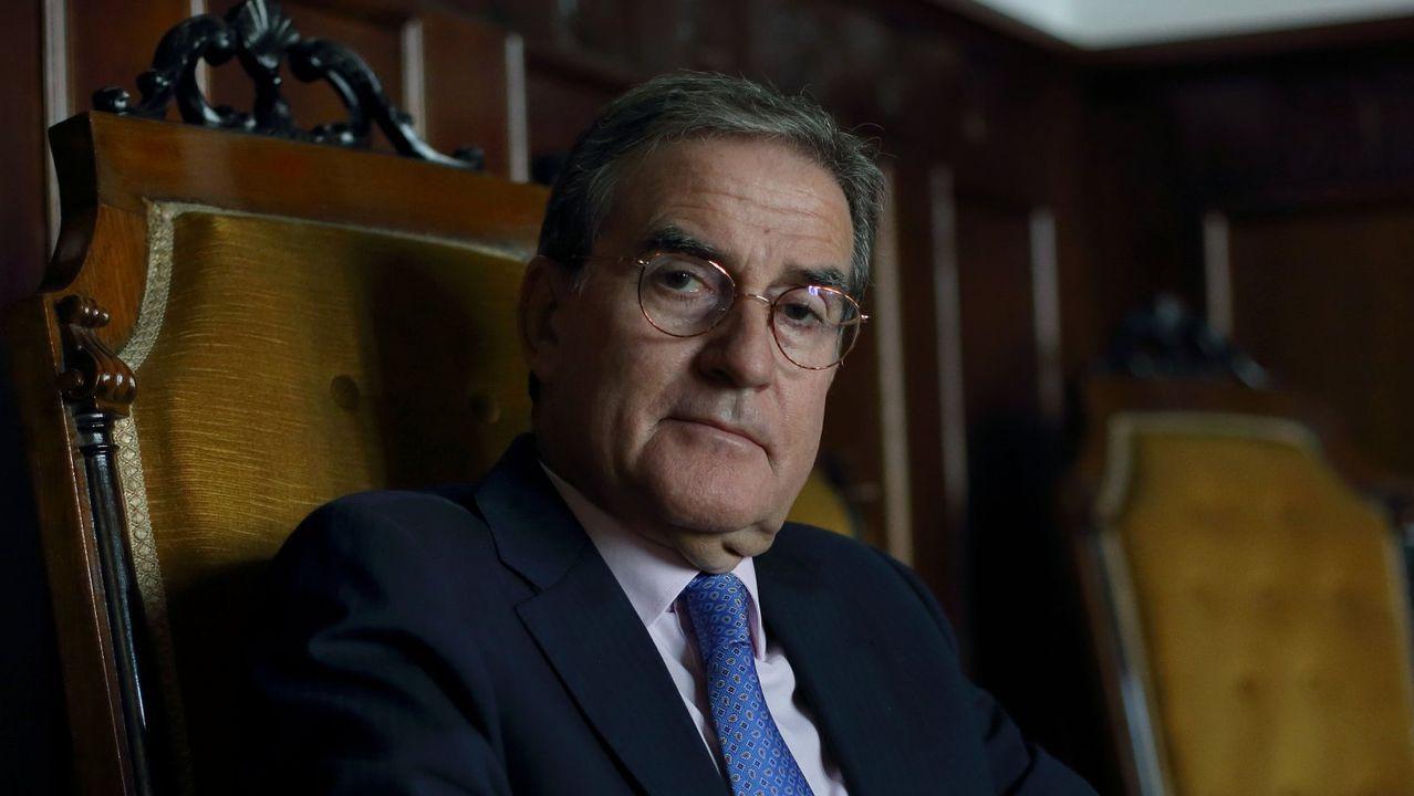 El presidente del Tribunal Superior de Xustiza, este viernes en A Coruña durante su discurso de apertura del año judicial en Galicia