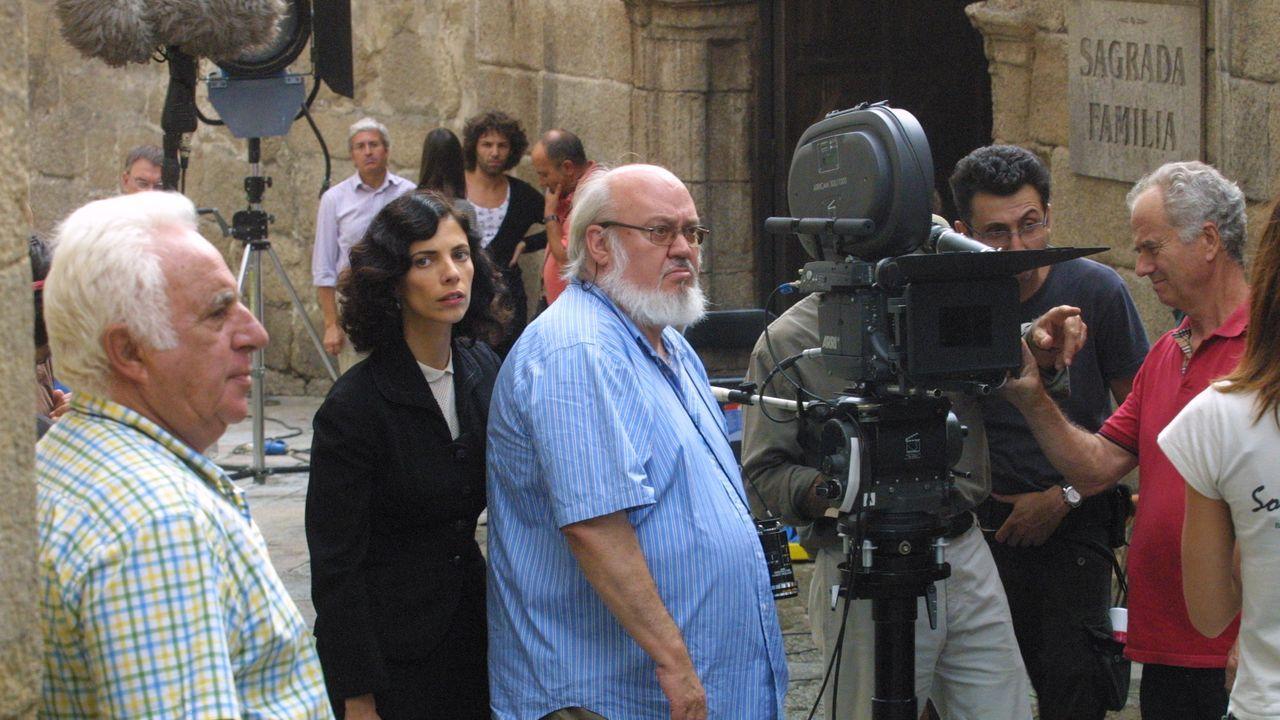 Un instante del rodaje de «Los girasoles ciegos» en la calle Hernán Cortés, en Ourense.