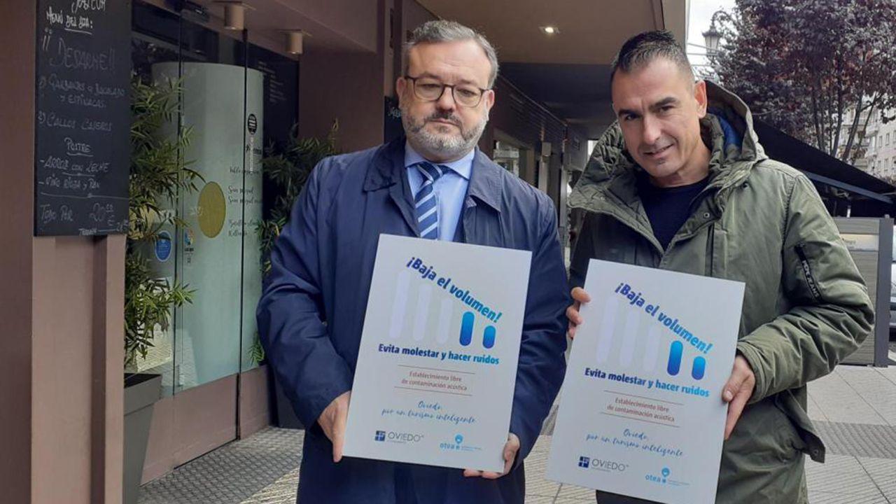 Alfredo García Quintana y David González Codón en la presentación de la campaña contra el ruido  en Oviedo