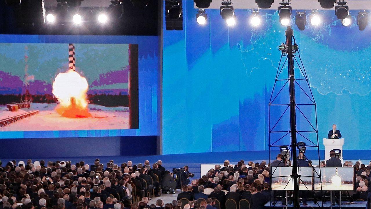 Putin presentó el nuevo misil nuclear el 1 de marzo del 2018 en su discurso anual ante el Parlamento