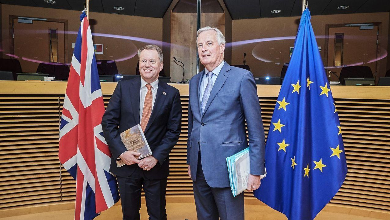 Los negociadores Frost y Barnier, en su primera y única reunión «postbrexit» el pasado 2 de marzo