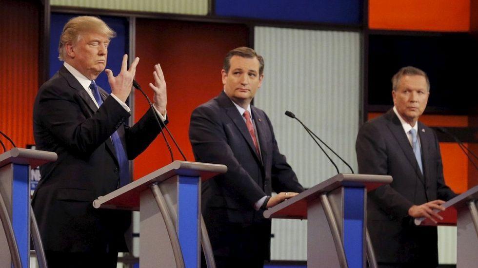 Los aspirantes republicanos Trump, Cruz y Kasich