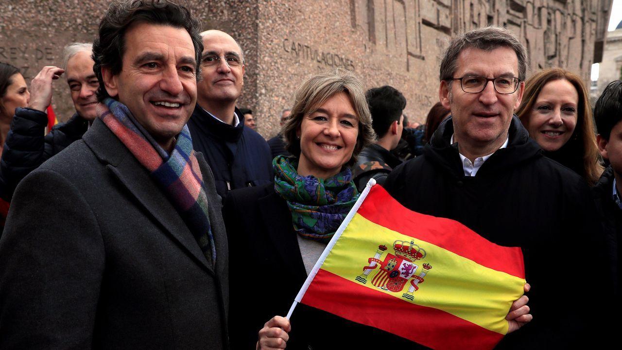 Miles de personas llenan la plaza de Colón de Madrid.El presidente de la Xunta, Alberto Núñez Feijoo, adelantó su regreso de Estados Unidos para asistir a la concentración
