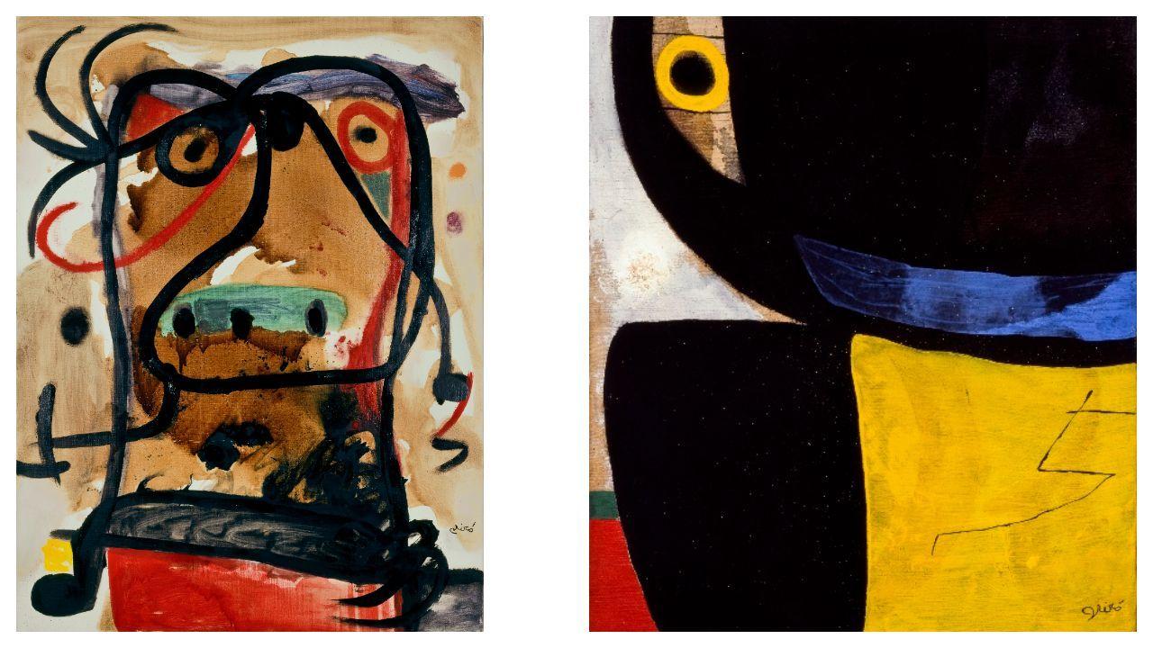 Detalle de «Cabeza» y «Cabeza, pájaro», dos óleos sobre lienzo datados en el año 1976